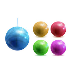 set disco balls disco background vector image
