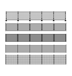 Set of different modular metal fence silhouettes vector