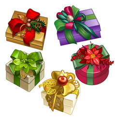 set of gift boxes tied with ribbons with a vector image