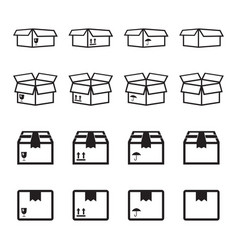 set of packaging box icon flat shipping pack vector image