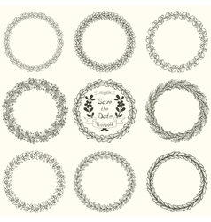 Set of round floral handdrawn wreaths vector