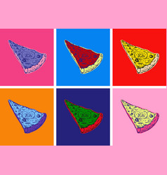 Slice pizza isolated hand drawn vector