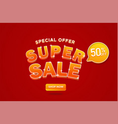 Super sale banner sale 3d typography advertising vector