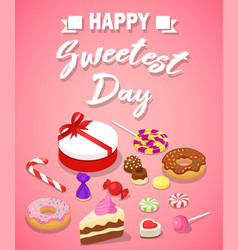 sweetest day concept background isometric style vector image