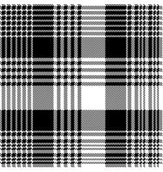 Tartan plaid black white fabric texture seamless vector