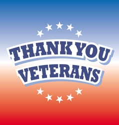 thank you veterans banner on red and blue vector image