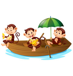 Three monkeys eating banana on boat vector
