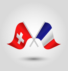 Two crossed swiss and french flags vector