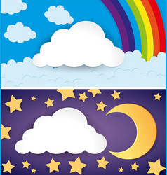 Two scenes of day and night vector