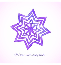 Violet watercolor snowflake vector image