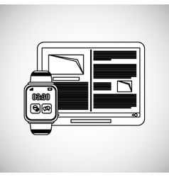 Wearable technology design wireless icon Flat vector image