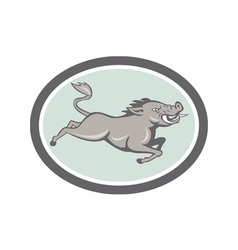 Wild boar razorback jumping side cartoon vector
