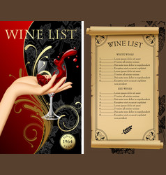 wine list with hand holding a wineglass with vector image
