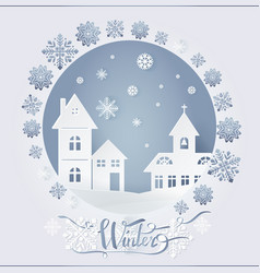 winter decorated card city and snowflakes vector image