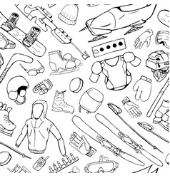Winter sport accessories - seamless pattern vector