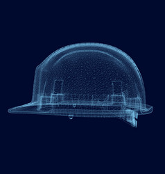 wireframe of the helmet builder of the blue lines vector image