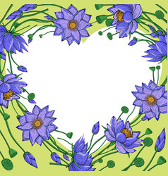 wreath from lotus flowers heart shaped border vector image