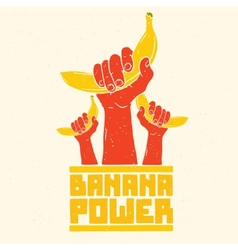 Banana power isolated poster vector image vector image