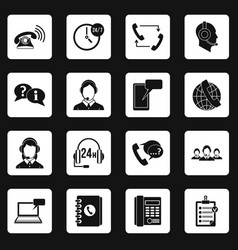 call center symbols icons set squares vector image