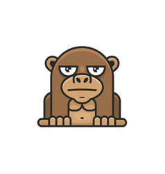 cute monkey icon on white background vector image vector image