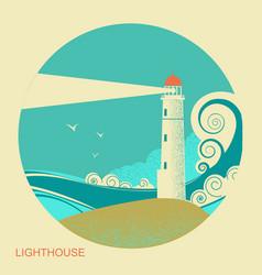 lighthouse label vintage seascape vector image vector image