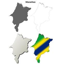 Maranhao blank outline map set vector image