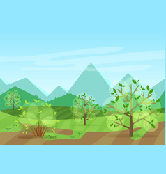the peaceful green landscape with mountains and vector image vector image