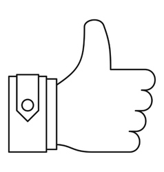 Thumbs up icon outline style vector image