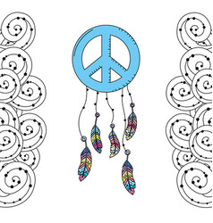 hippie emblem symbol with feathers and ornamental vector image vector image
