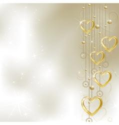 Light golden hearts vector image vector image