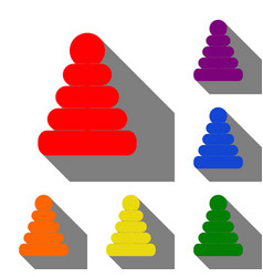 pyramid sign set of red orange vector image