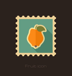 quince flat stamp tropical fruit vector image vector image