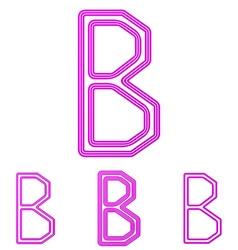 Magenta line b logo design set vector image