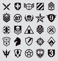 Military icons symbol set on gray vector