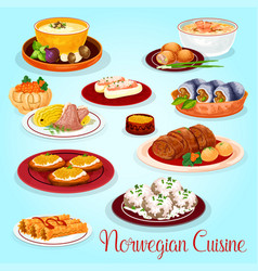 Norwegian cuisine dishes for lunch menu icon vector