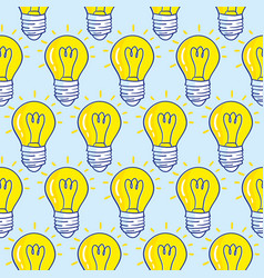 seamless pattern with light bulbs hand drawn vector image