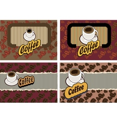 set of business cards on coffee vector image vector image