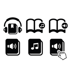 Audiobook icons set vector image vector image