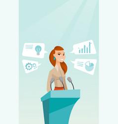 Business woman giving speech at business seminar vector