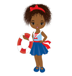 cute little african american girl with buoy vector image vector image