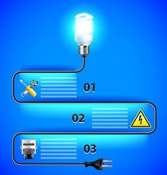 Electricity infographics Energy saving light bulb vector image vector image