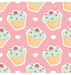Tile pattern with cupcake and hearts on pink vector image vector image