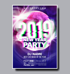 2019 party flyer poster happy new year vector image