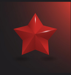 3d red star with shine vector