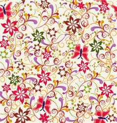 abstract seamless pattern Butterfly and Flower vector image