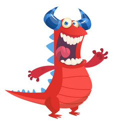 angry cute cartoon red monster dragon laughing vector image