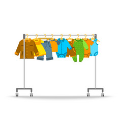 Baby clothes on hanger rack flat vector