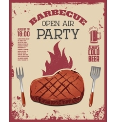 Barbecue open air party flyer Beef steak and vector
