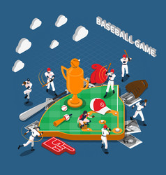 Baseball game isometric composition vector