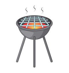 Bbq grill with fire icon cartoon style vector